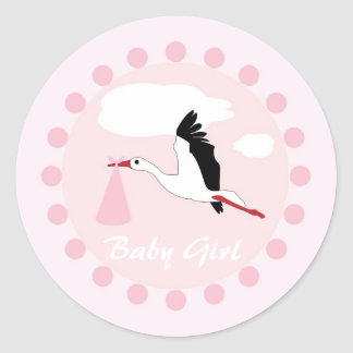 Baby girl cute stork pink & white shower stickers