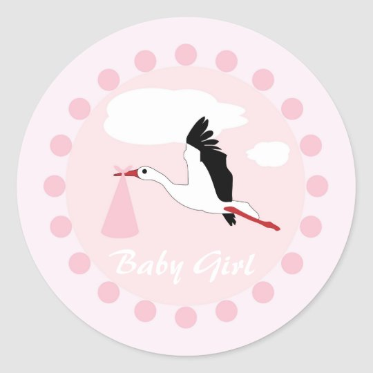 Baby girl cute stork pink & white shower