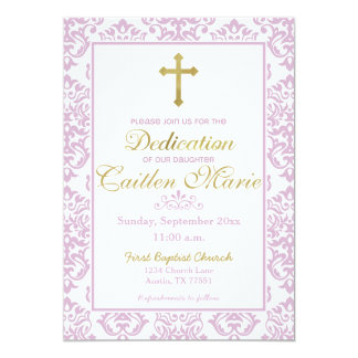 Baby Girl Dedication Invitation Pink and Gold