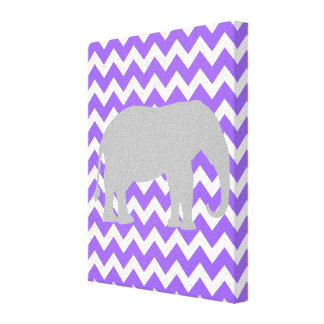 Baby Girl Elephant Chevron Nursery Print Purple Stretched Canvas Print