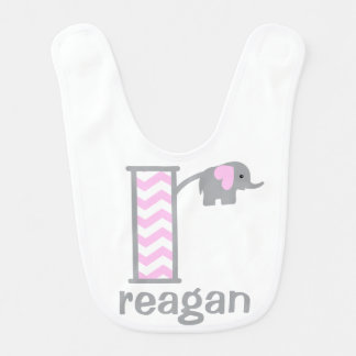 Baby Girl Elephant Pink Chevron Bib Monogram r