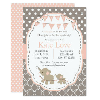 Baby Girl Elephant Shower Invitation - Pink