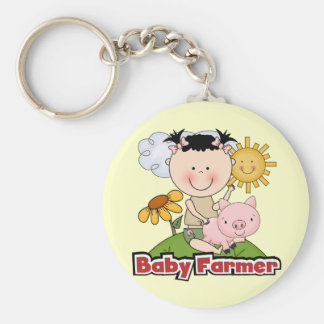 Baby Girl Farmer Wtih Pig T-shirts and Gifts Keychain