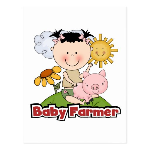 Baby Girl Farmer Wtih Pig T-shirts and Gifts Post Card