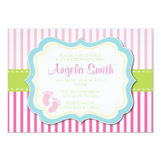 Baby Girl Feet Shower Invitation-Pink Card