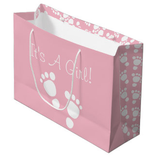 Baby girl feet white illustration large gift bag