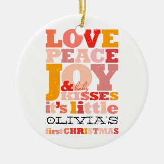 Baby Girl First Christmas Holiday Photo Ornament