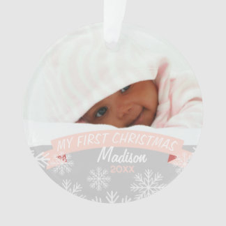 Baby Girl First Christmas | Photo Ornament