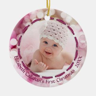 Baby Girl First Christmas, Pink/Plum Bokeh, 2 Pics Christmas Ornament