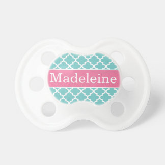 Baby Girl First Name | Aqua and Pink Baby Pacifier