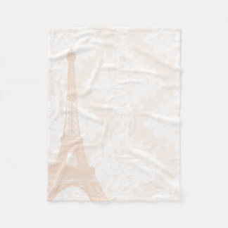 Baby Girl Floral Pinkish Coral Peach Eiffel Tower Fleece Blanket