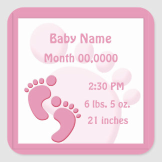 Baby Girl Footprint Little Feet Birth Announcement Square Sticker