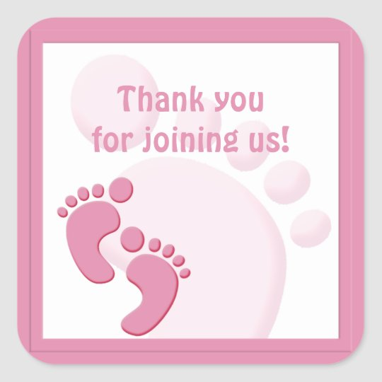 Baby Girl Footprint Little Feet Party Favour Square