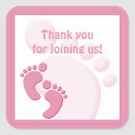 Baby Girl Footprint Little Feet Party Favour Square Sticker