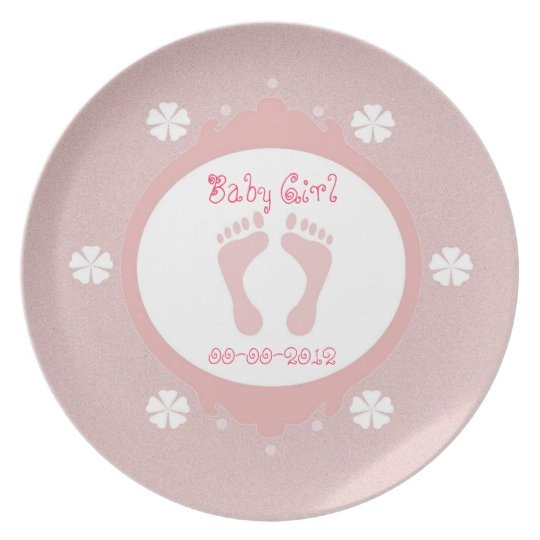 Baby Girl Footprint Plate