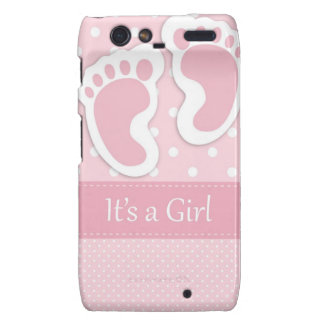 Baby Girl Footprints Adorable Droid RAZR Case