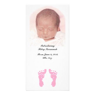 """""""Baby Girl Footprints"""" Photo Birth Announcements Customized Photo Card"""