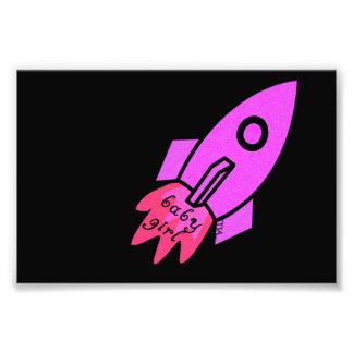baby girl got a pink rocket ship photo art