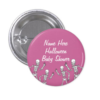 Baby Girl Halloween Skeleton Baby Shower Buttons