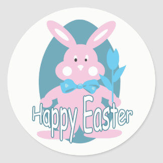 Baby Girl Happy Easter Bunny Sticker