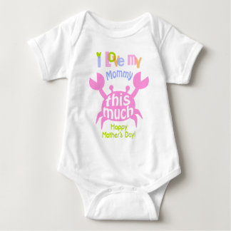 Baby Girl Happy Mother's Day Shirt Crab Bodysuit