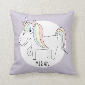 Baby Girl Heart Pattern Unicorn with Name Nursery Cushion