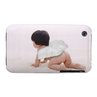 Baby girl in angel wings, smiling, rear view iPhone 3 Case-Mate cases