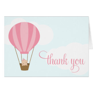 Baby Girl in Pink Balloon Note Card
