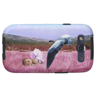 Baby girl in pink galaxy s3 cover