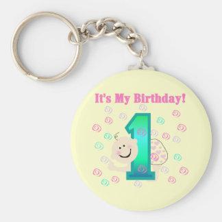 Baby Girl It s My 1st Birthday Keychains