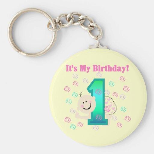 Baby Girl It's My 1st Birthday Keychains