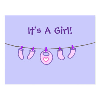 Baby Girl Laundry It's A Girl! Personalized Postcards