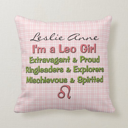 Baby Girl Leo Zodiac Personalised Pillow
