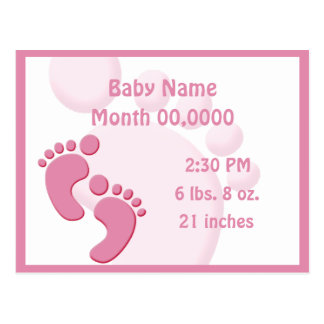 Baby Girl Little Feet Footprint Birth Announcement Postcard