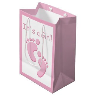 Baby Girl Little Feet It's a Girl MGB Medium Gift Bag