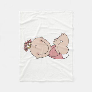 Baby Girl Lying Fleece Blanket