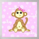 Baby Girl Monkey Pink Poster Print Nursery Wall