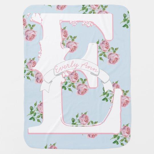 Baby Girl Monogram Vintage Rose Pink Blue Pattern