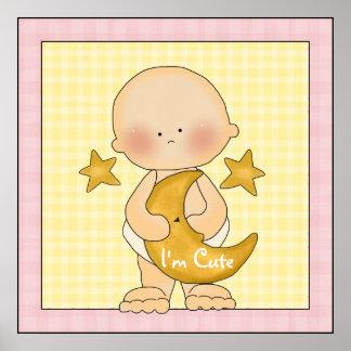 Baby Girl Moon Stars Poster Art Print