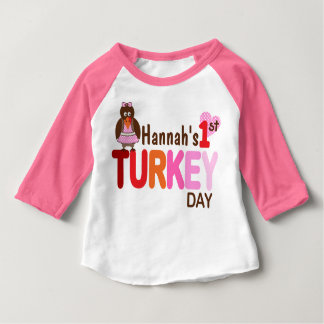 Baby Girl My 1st Thanksgiving Turkey Day Pink Top