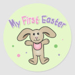 Baby Girl My First Easter Round Stickers
