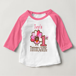 Baby Girl My First Thanksgiving Shirt Pink