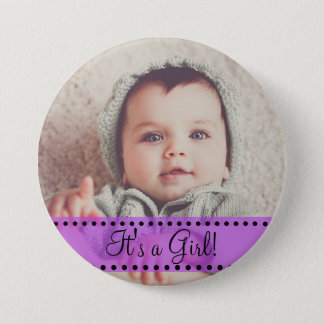 Baby Girl Name and Photo Magnet Purple Personalize 7.5 Cm Round Badge