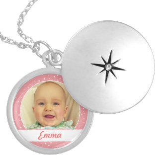 Baby Girl Name and Photo Personalized Necklace