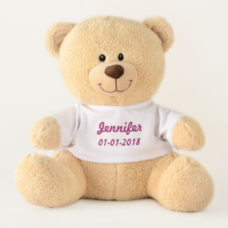 Baby Girl Name & Birth date Customizable Rose Pink Teddy Bear