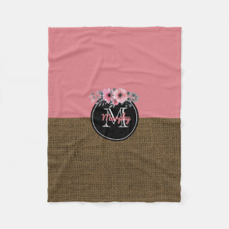 Baby Girl Name | Rustic Burlap Floral Pink Nursery Fleece Blanket