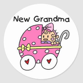 Baby Girl New Grandma T-shirts and Gifts Classic Round Sticker