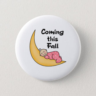 Baby Girl on Moon Fall 6 Cm Round Badge