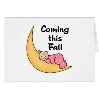 Baby Girl on Moon Fall Greeting Card