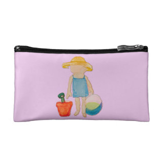 Baby Girl on Summer Beach Birthday Rose Pink Stamp Cosmetic Bag